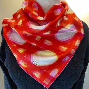 Layered Geo Silk Scarf - red